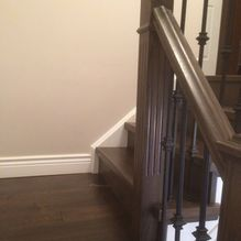 handrail work in brown wood